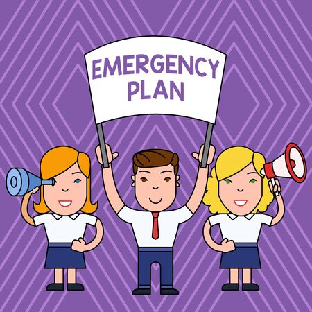 Handwriting text Emergency Plan. Conceptual photo Procedures for response to major emergencies Be prepared People with Blank Banner, Megaphone and Spy Glass Peaceful Demonstration