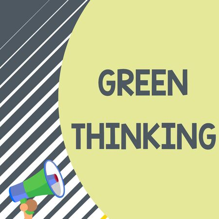 Writing note showing Green Thinking. Business concept for Taking ction to make environmental responsibility a reality Old design of speaking trumpet loudspeaker for talking to audience