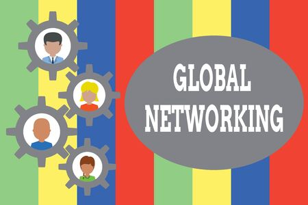 Text sign showing Global Networking. Business photo showcasing Communication network which spans the entire Earth WAN Gearshaped picture frame family ornament mother father daughter son photo