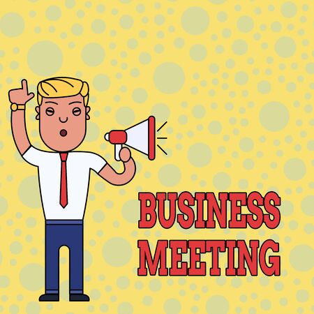 Writing note showing Business Meeting. Business concept for used discuss issues that cannot be addressed in simple way Man Standing with Raised Right Index Finger and Speaking into Megaphone Reklamní fotografie