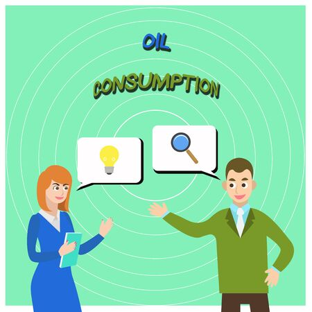 Conceptual hand writing showing Oil Consumption. Concept meaning This entry is the total oil consumed in barrels per day Business Partners Colleague Jointly Seeking Problem Solution Imagens