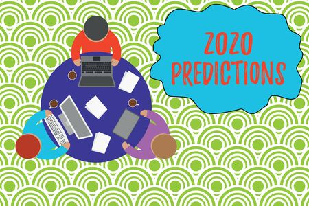 Text sign showing 2020 Predictions. Business photo showcasing list of things you feel that going to happen without proof Working round table male employees electronic devices documents coffee cup Stock Photo
