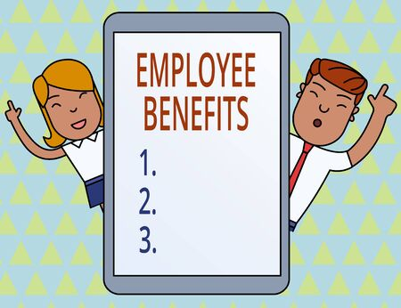 Conceptual hand writing showing Employee Benefits. Concept meaning Indirect and noncash compensation paid to an employee Male and Female Index Fingers Tablet Smartphone Device