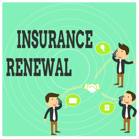 Conceptual hand writing showing Insurance Renewal. Concept meaning Protection from financial loss Continue the agreement Businessmen Coworker Conference Call Discussion Mobile Phone