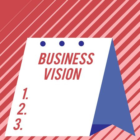 Text sign showing Business Vision. Business photo showcasing grow your business in the future based on your goals Modern fresh and simple design of calendar using hard folded paper material