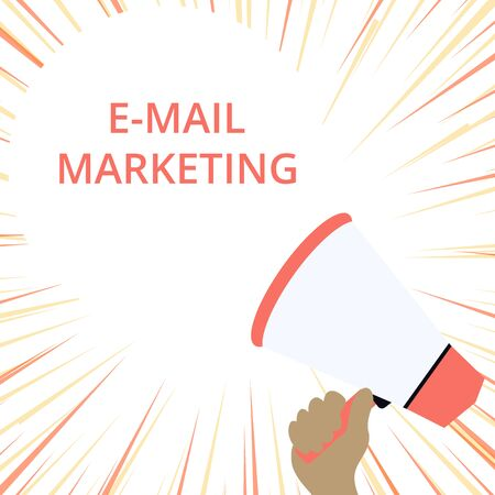 Word writing text E Mail Marketing. Business photo showcasing Ecommerce Advertising Online sales Newsletters Promotion Hand Holding Loudhailer Empty Round Speech Text Balloon Announcement New 스톡 콘텐츠