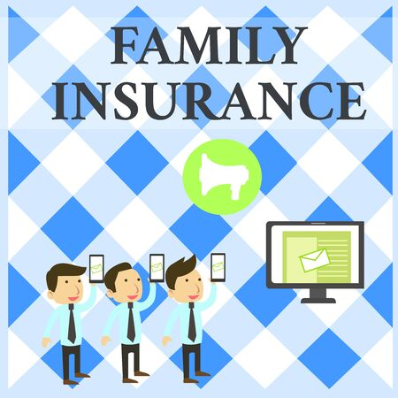 Text sign showing Family Insurance. Business photo showcasing paying a partial or full health care for relatives SMS Email Marketing Media Audience Attraction Personal Computer Loudspeaker Stock Photo