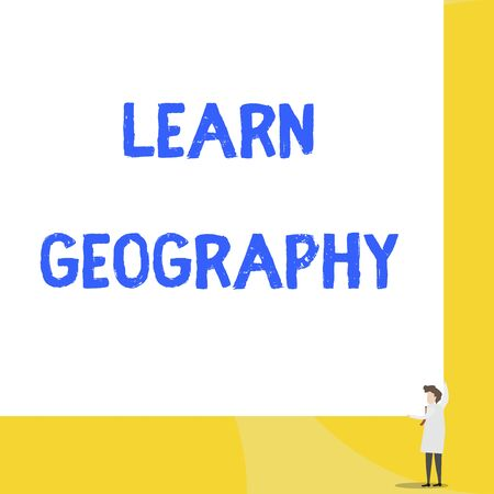 Writing note showing Learn Geography. Business concept for study of physical features of earth and its atmosphere Young woman holding two hands right corner big rectangle 스톡 콘텐츠