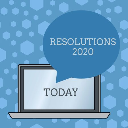 Word writing text Resolutions 2020. Business photo showcasing list of things wishes to be fully done in next year Round Shape Empty Speech Bubble Floating Over Open Laptop Colored Backdrop