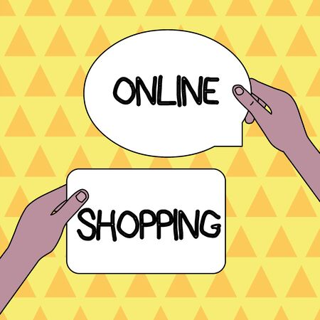 Handwriting text Online Shopping. Conceptual photo allows consumers to buy their goods over the Internet Two Blank Figured Tablets Signs Held in Hands One Above Other Text Space 스톡 콘텐츠
