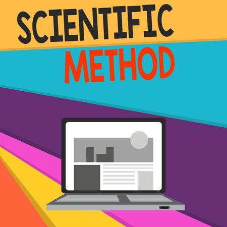 Handwriting text writing Scientific Method. Conceptual photo Principles Procedures for the logical hunt of knowledge Open Modern Laptop Switched On with Website Homepage on Screen Web Search