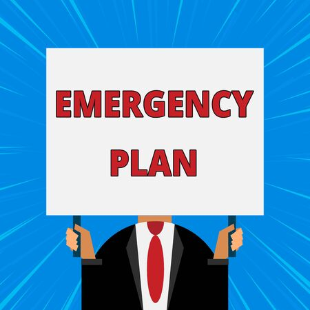 Handwriting text writing Emergency Plan. Conceptual photo Procedures for response to major emergencies Be prepared Just man chest dressed dark suit tie no face holding blank big rectangle Stock Photo