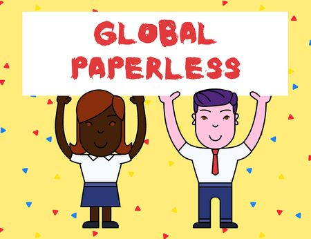 Handwriting text Global Paperless. Conceptual photo going for technology methods like email instead of paper Two Smiling People Holding Big Blank Poster Board Overhead with Both Hands