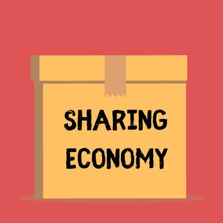 Handwriting text Sharing Economy. Conceptual photo economic model based on providing access to goods Close up front view open brown cardboard sealed box lid. Blank background Banque d'images - 124897645