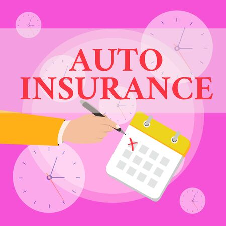 Writing note showing Auto Insurance. Business concept for Protection against financial loss in case of accident Formal Suit Crosses Off One Day Calendar Red Ink Ballpoint Pen Stock Photo