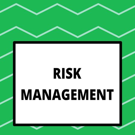 Writing note showing Risk Management. Business concept for evaluation of financial hazards or problems with procedures Big square background inside one thick bold black outline frame
