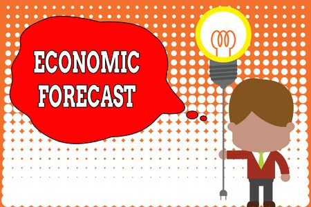 Handwriting text writing Economic Forecast. Conceptual photo Process of making predictions about the economy condition Standing man tie holding plug socket light bulb to connect idea. Startup