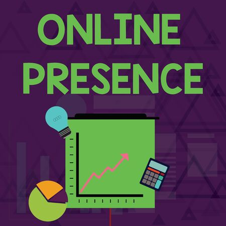 Writing note showing Online Presence. Business concept for existence of someone that can be found via an online search Investment Icons of Pie and Line Chart with Arrow Going Up
