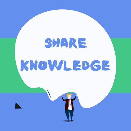 Text sign showing Share Knowledge. Business photo showcasing teaching others what I learnt before Giving lectures Front view standing man dressed suit tie two hands up big deflated balloon Stock Photo