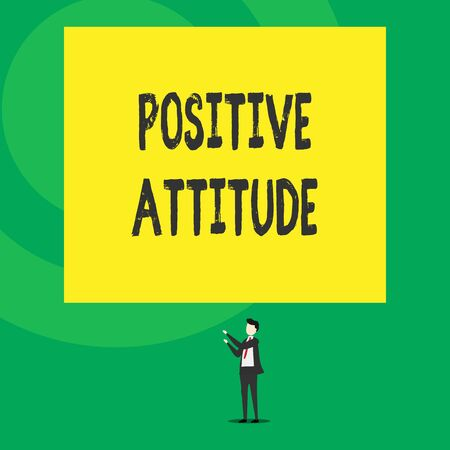 Word writing text Positive Attitude. Business photo showcasing Being optimistic in Life Looking for good things Isolated view young man standing pointing upwards two hands big rectangle Reklamní fotografie
