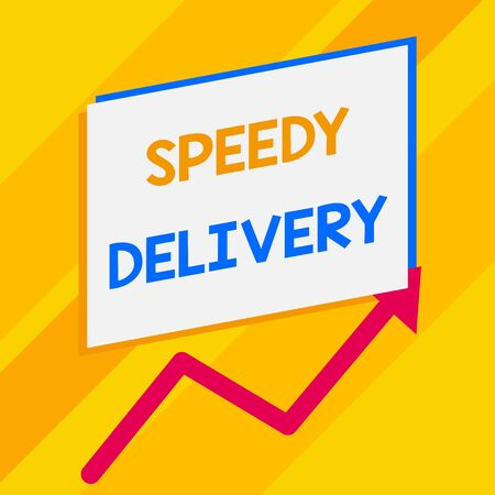 Conceptual hand writing showing Speedy Delivery. Concept meaning provide products in fast way or same day shipping overseas Blank rectangle above another zigzag upwards increasing sale