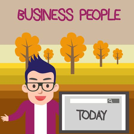 Text sign showing Business People. Business photo text People who work in business especially at an executive level Male Speaker Monitor with Search Tool on Screen Presentation or Report