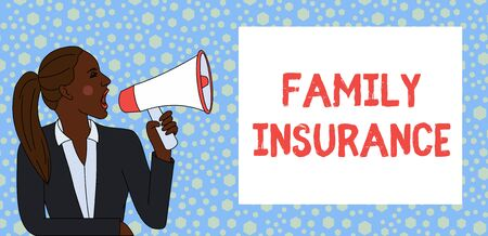 Text sign showing Family Insurance. Business photo text paying a partial or full health care for relatives Young Woman Jacket Ponytail Shouting into Loudhailer Rectangular Text Box