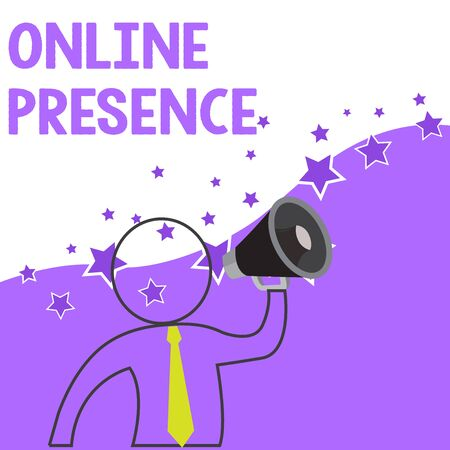 Text sign showing Online Presence. Business photo showcasing existence of someone that can be found via an online search Outline Symbol Man Loudspeaker Making Announcement Giving Instructions