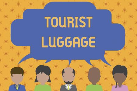Word writing text Tourist Luggage. Business photo showcasing big bag that contains everything one needs for traveling Five different races persons sharing blank speech bubble. People talking Imagens