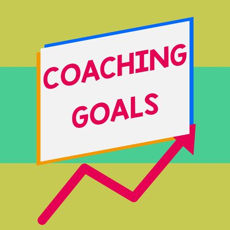 Handwriting text writing Coaching Goals. Conceptual photo Empowers individuals Encourages them to take responsibility One blank rectangle above another arrow zigzag upwards increasing sale
