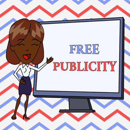 Conceptual hand writing showing Free Publicity. Concept meaning Promotional marketing Mass media Public Relations Editorial White Female in Standing Pointing Whiteboard Presentation Stock Photo