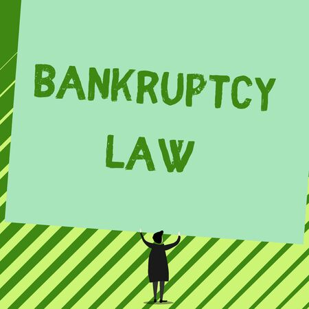Word writing text Bankruptcy Law. Business photo showcasing Designed to help creditor in getting the asset of the debtor Man stands in back view under huge empty blank big tilted rectangle board