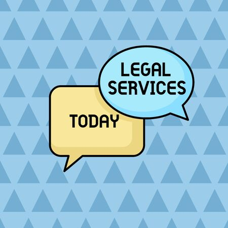 Text sign showing Legal Services. Business photo showcasing Providing access to justice Fair trial Law equality Pair of Overlapping Blank Speech Bubbles of Oval and Rectangular Shape Banco de Imagens