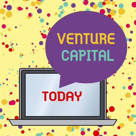 Text sign showing Venture Capital. Business photo text financing provided by firms to small early stage ones Round Shape Empty Speech Bubble Floating Over Open Laptop Colored Backdrop Stock Photo