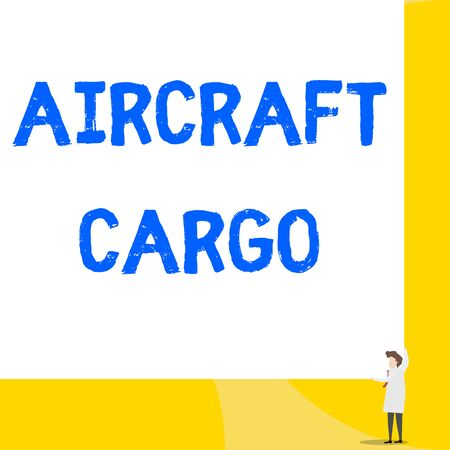 Writing note showing Aircraft Cargo. Business concept for Freight Carrier Airmail Transport goods through airplane Young woman holding two hands right corner big rectangle