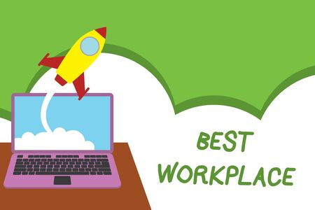 Text sign showing Best Workplace. Business photo showcasing Ideal company to work with High compensation Stress free Successful rocket launching clouds out laptop background. Startup growing Reklamní fotografie