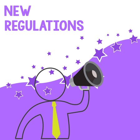 Text sign showing New Regulations. Business photo showcasing Regulation controlling the activity usually used by rules. Outline Symbol Man Loudspeaker Making Announcement Giving Instructions Reklamní fotografie - 124906116