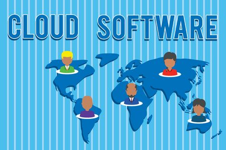 Conceptual hand writing showing Cloud Software. Concept meaning Programs used in Storing Accessing data over the internet Connection multiethnic persons all Global business earth map