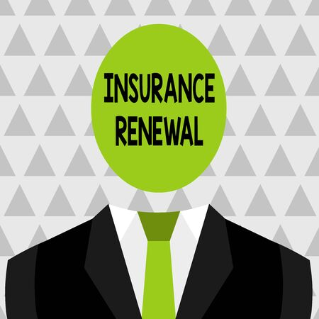 Text sign showing Insurance Renewal. Business photo showcasing Protection from financial loss Continue the agreement Symbolic Drawing Emblematic Figure of Man Formal Suit Oval Faceless Head