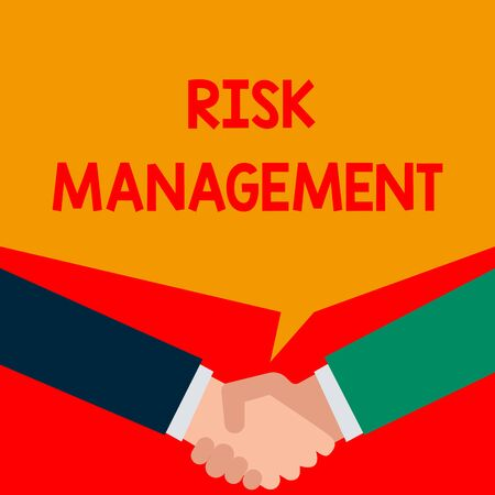 Word writing text Risk Management. Business photo showcasing evaluation of financial hazards or problems with procedures Two persons have bubbly conversation while greet each other and shake hands Stock Photo - 124906120