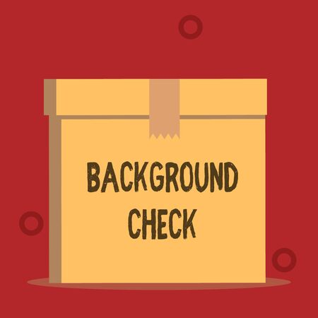 Word writing text Background Check. Business photo showcasing way to discover issues that could affect your business Close up front view open brown cardboard sealed box lid. Blank background Stock Photo