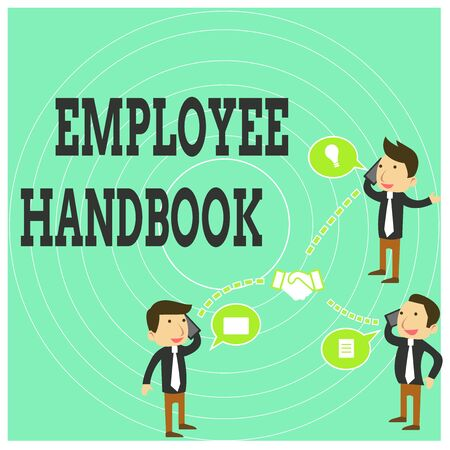 Conceptual hand writing showing Employee Handbook. Concept meaning Document that contains an operating procedures of company Businessmen Coworker Conference Call Discussion Mobile Phone Reklamní fotografie