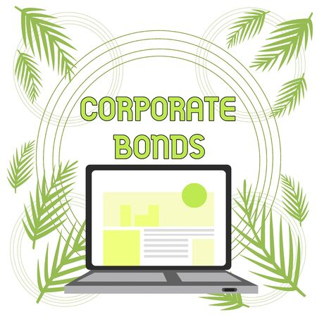 Handwriting text Corporate Bonds. Conceptual photo corporation to raise financing for variety of reasons Open Modern Laptop Switched On with Website Homepage on Screen Web Search Stock Photo - 124906237