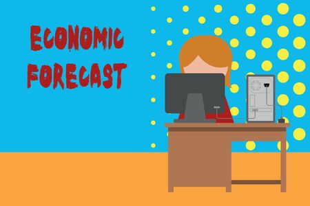 Conceptual hand writing showing Economic Forecast. Concept meaning Process of making predictions about the economy condition Young female working in office computer office monitor photo