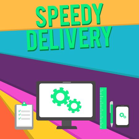 Word writing text Speedy Delivery. Business photo showcasing provide products in fast way or same day shipping overseas Business Concept PC Monitor Mobile Device Clipboard Ruler Ballpoint Pen