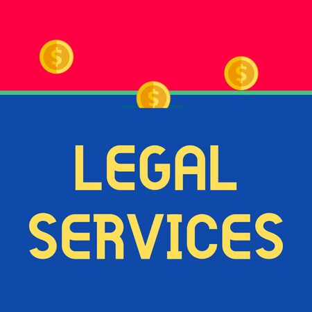 Word writing text Legal Services. Business photo showcasing Providing access to justice Fair trial Law equality Front view close up three penny coins icon one entering collecting box slot Banco de Imagens