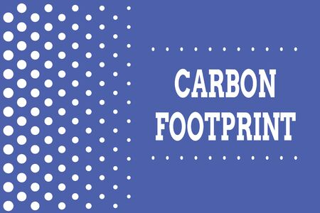 Handwriting text writing Carbon Footprint. Conceptual photo amount of dioxide released atmosphere result of activities Decreasing points size background other half without drawing. Polka dots Banco de Imagens