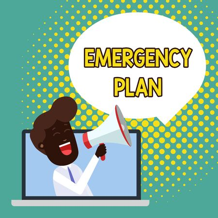 Text sign showing Emergency Plan. Business photo showcasing Procedures for response to major emergencies Be prepared Man Speaking Through Laptop into Loudhailer Blank Speech Bubble Announce
