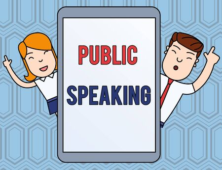 Text sign showing Public Speaking. Business photo text talking showing stage in subject Conference Presentation Male and Female Index Fingers Up Touch Screen Tablet Smartphone Device Stockfoto