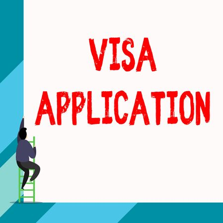 Writing note showing Visa Application. Business concept for Form to ask permission travel or live in another country Back view young long hair woman holding blank square announcement Banco de Imagens